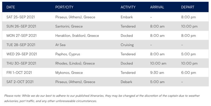 Azamara Greece Intensive Itinerary
