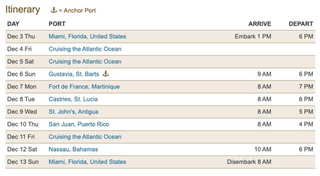 Oceania Sample Itinerary
