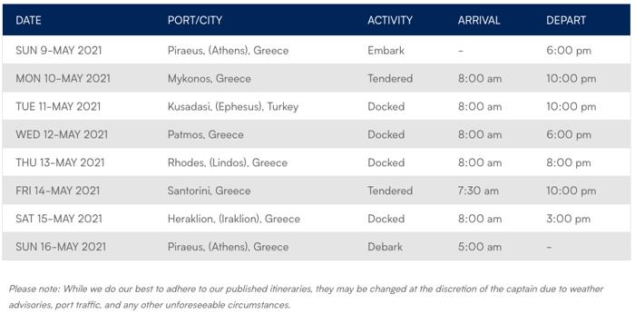 Azamara Greece Itinerary sample