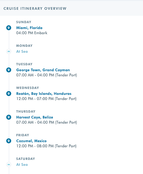 NCL Western Caribbean Itinerary
